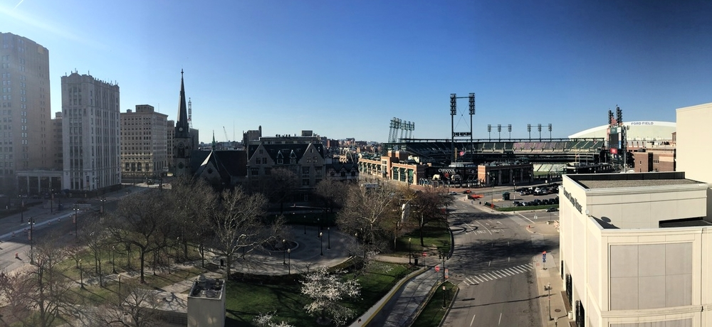 View of Grand Circus Park, the Detroit Opera House, Comerica Park, and Ford Field from the Madison Building rooftop.