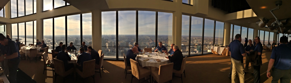 Seco Tools employees enjoying their dinner and their spectacular view of the city.