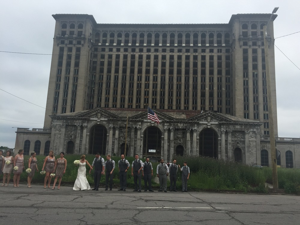 Preparing in from of Michigan Central Station.