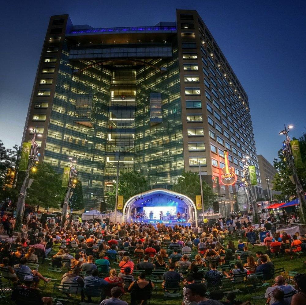 An outdoor concert at Detroit's Campus Martius Park