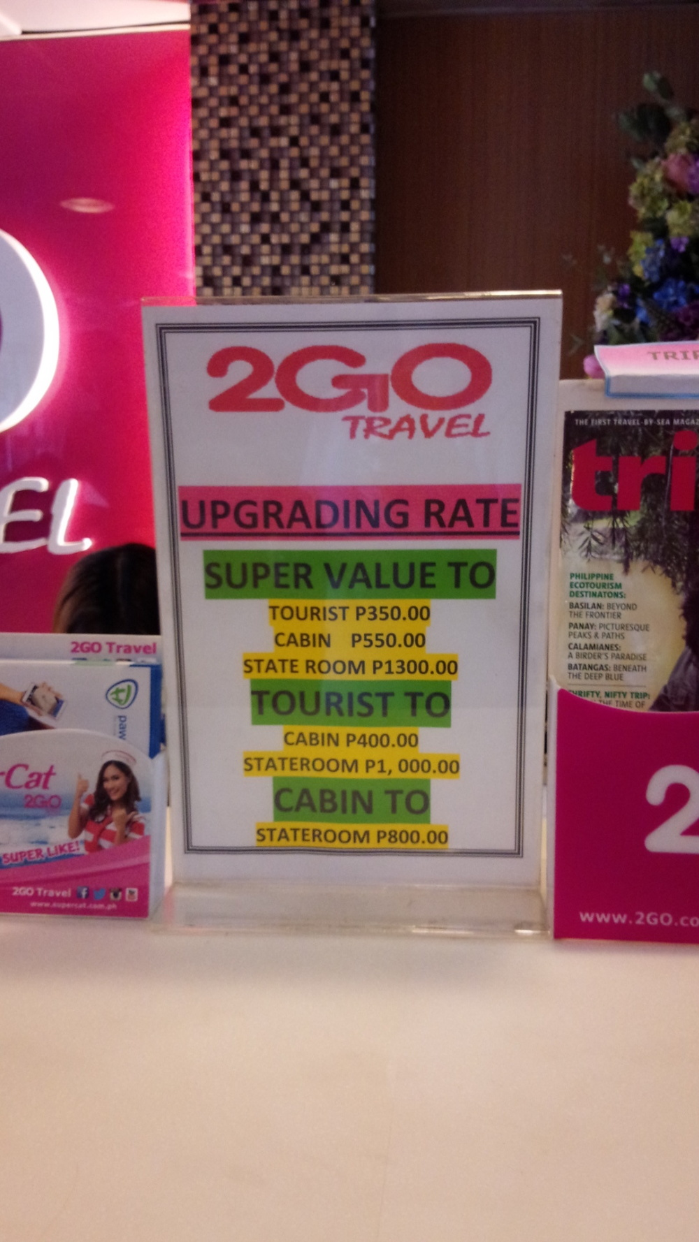 Upgrading on 2GO travel