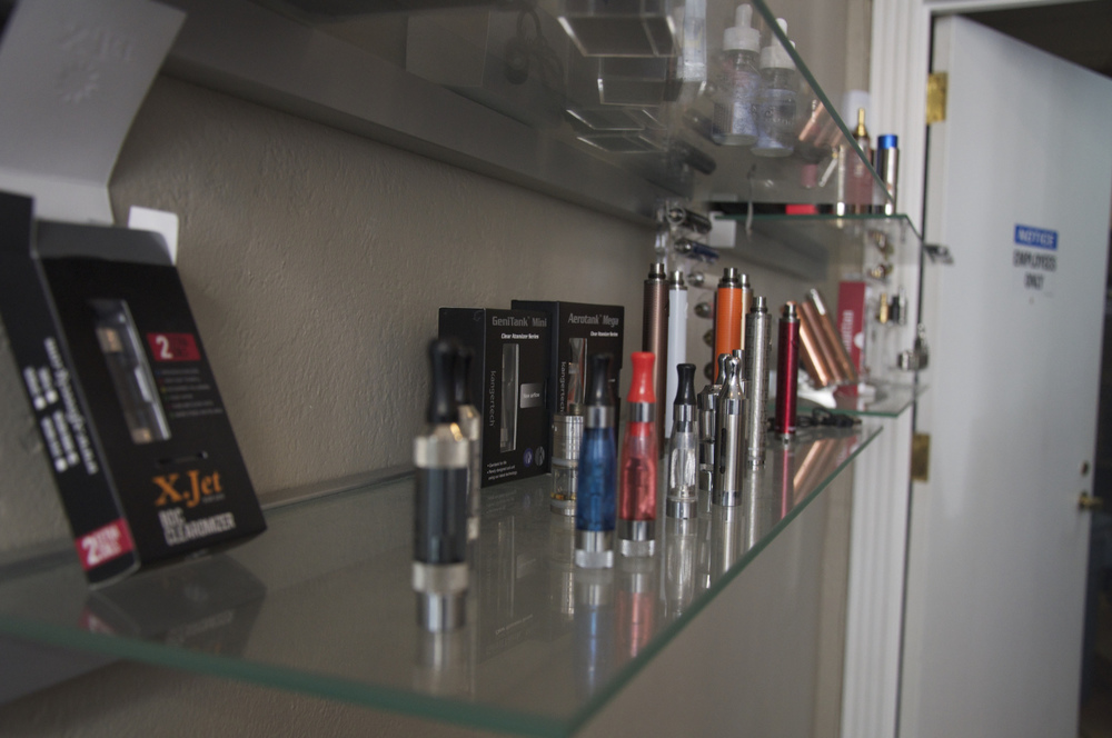 "A shelf of ""mods"" at Smoque Vapours in Printer's Row."