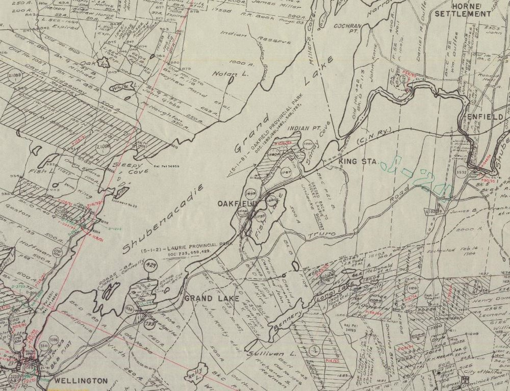 Halifax & Hants Counties Land Grants - 1939-2009  This maps spans over 70 years but still contains lots of historical tracks and roads that are long forgotten.  Many of the original land grants in the area are clearly visible along with the grantee and lot size.