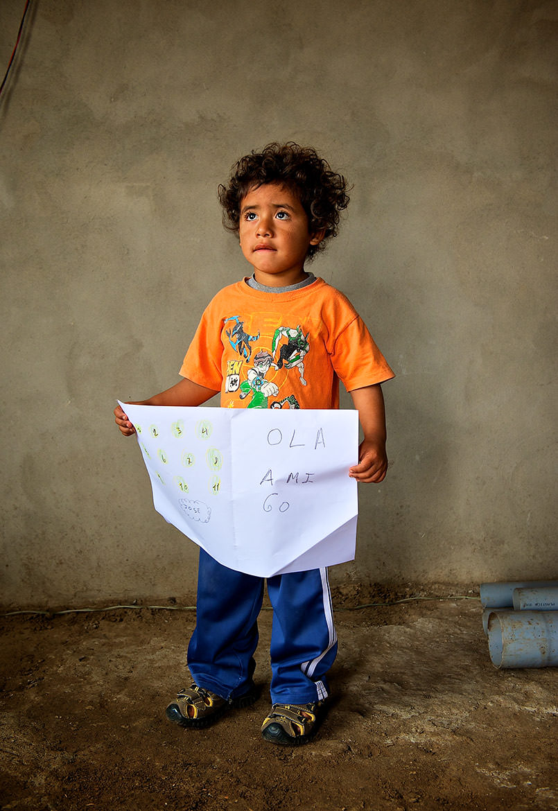 Portraits of Peru - Trujillo, Peru; this young boy drew a picture of what he wanted to be when he grew up