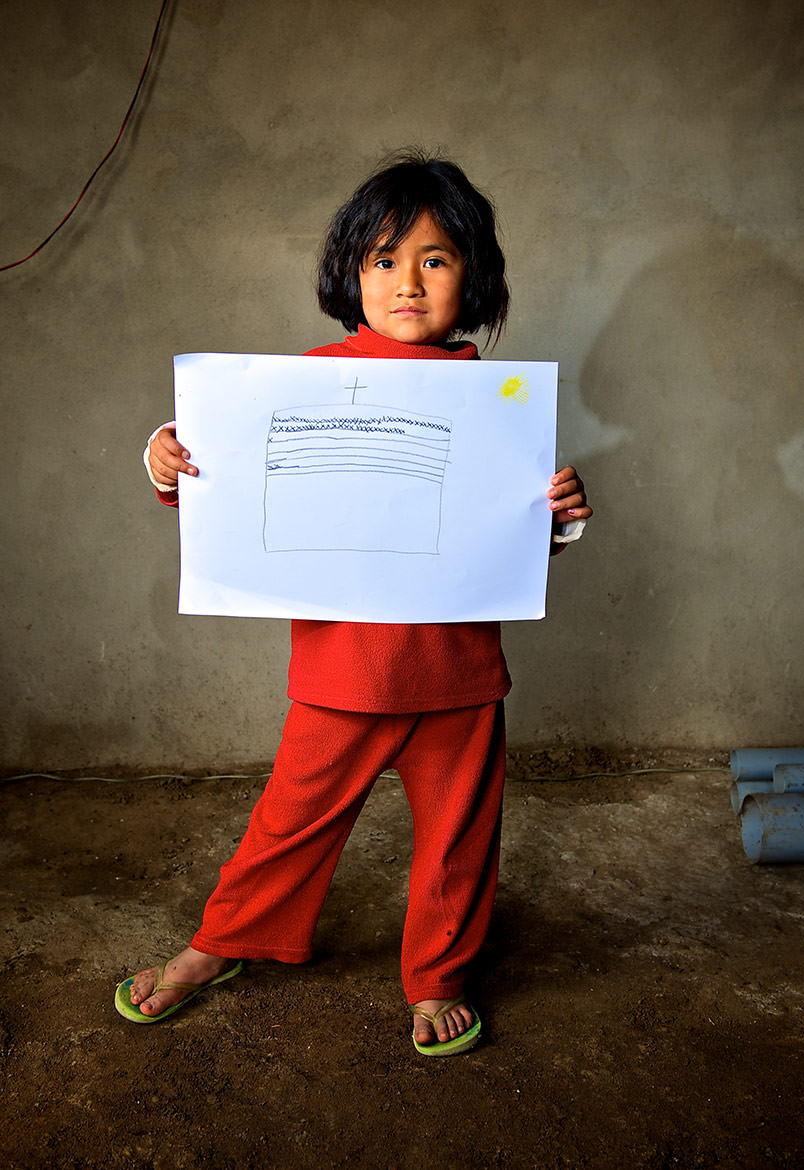 Portraits of Peru - Trujillo, Peru; this young girl drew a picture of what she wanted to be when she grew up