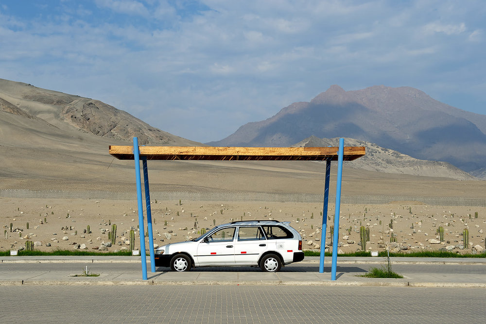 A lonesome carport in the sunny desert of Trujillo, Peru
