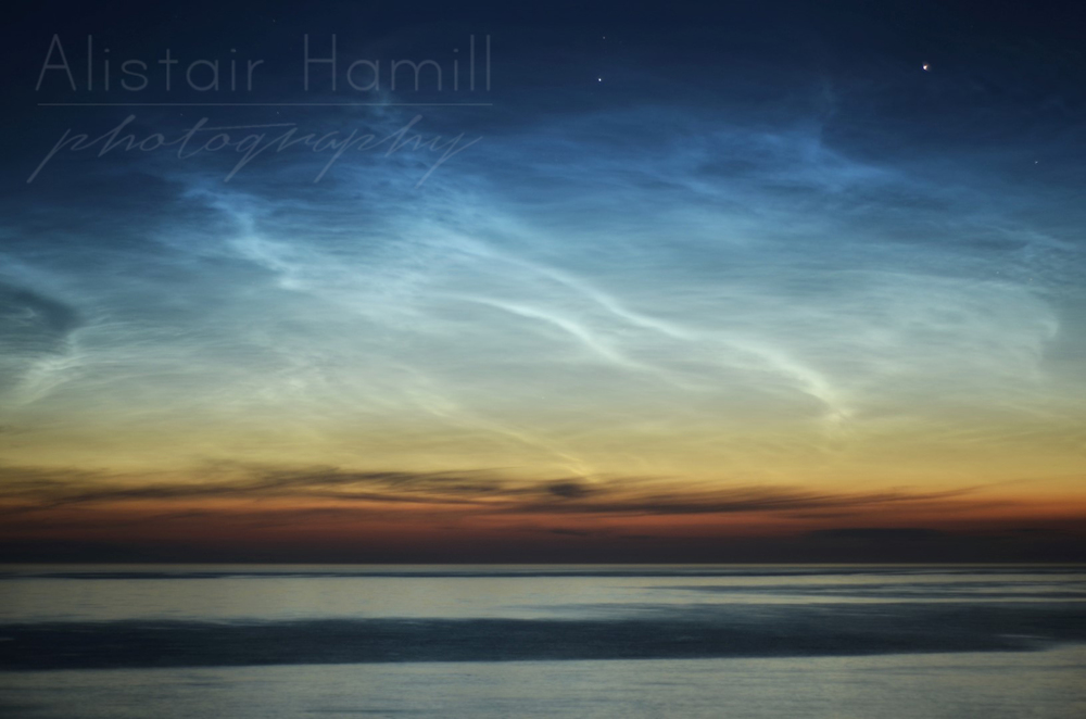 A close up of the beautiful tendrils of the noctilucent clouds