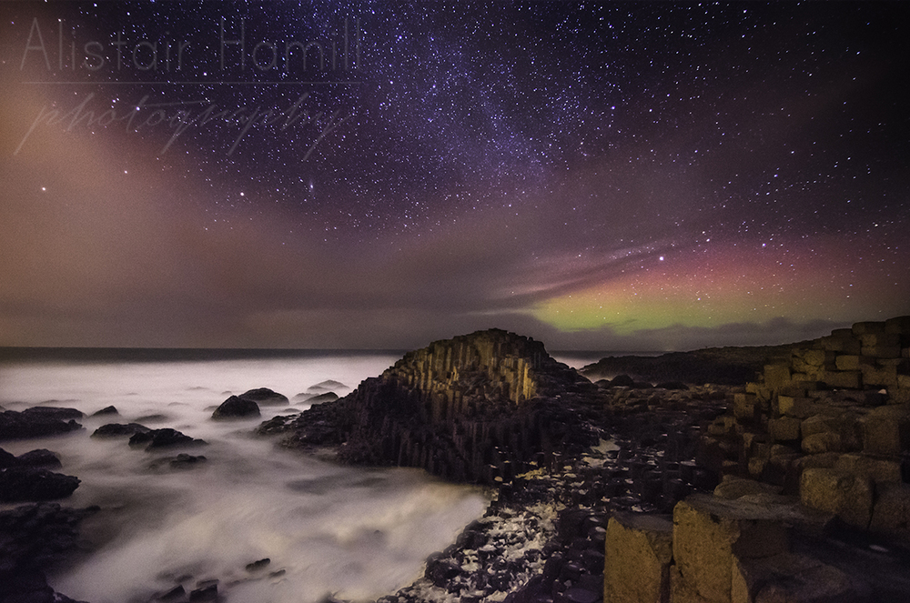 The aurora and the Milky Way put on a stunning display at the Giant's Causeway