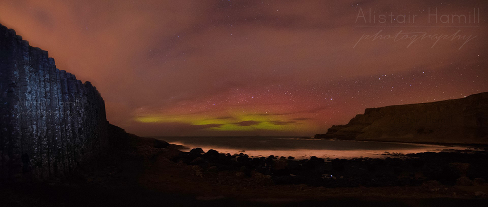 The aurora began to intensify at the Causeway - just as the cloud closed in! Can you see the reflection of the star in the rock pool? When it first caught my eye, I thought for sure I was  not  alone...!!