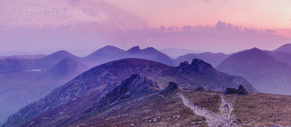 The view of Bearnagh in the distance from the summit of Binnian, as seen in the wee small hours of the morning last July