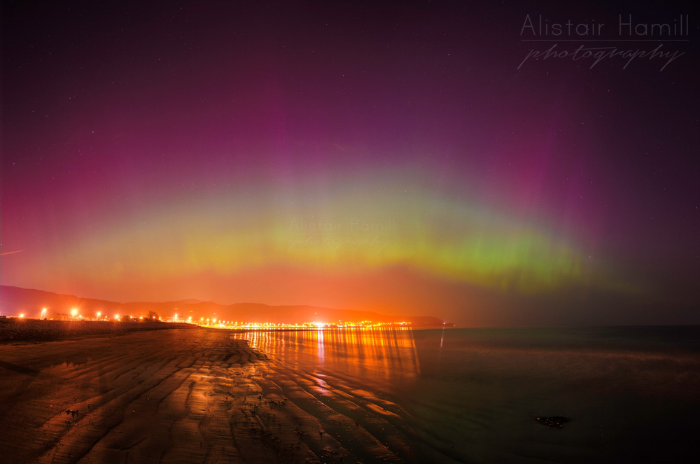 The St Patrick's Day aurora at its peak at Carnlough, Co Antrim