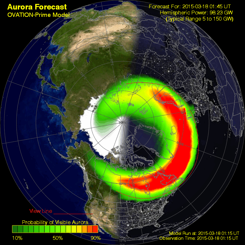 The aurora oval just before darkness fell over the UK. Things were looking very promising indeed!