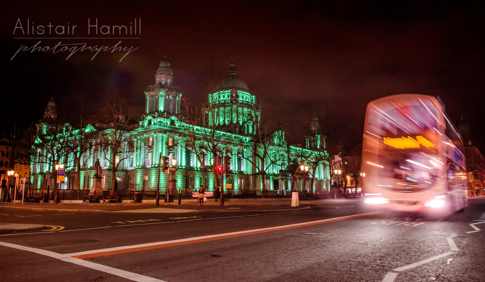 Belfast's City Hall, lit up green for St Patrick's Day 2014