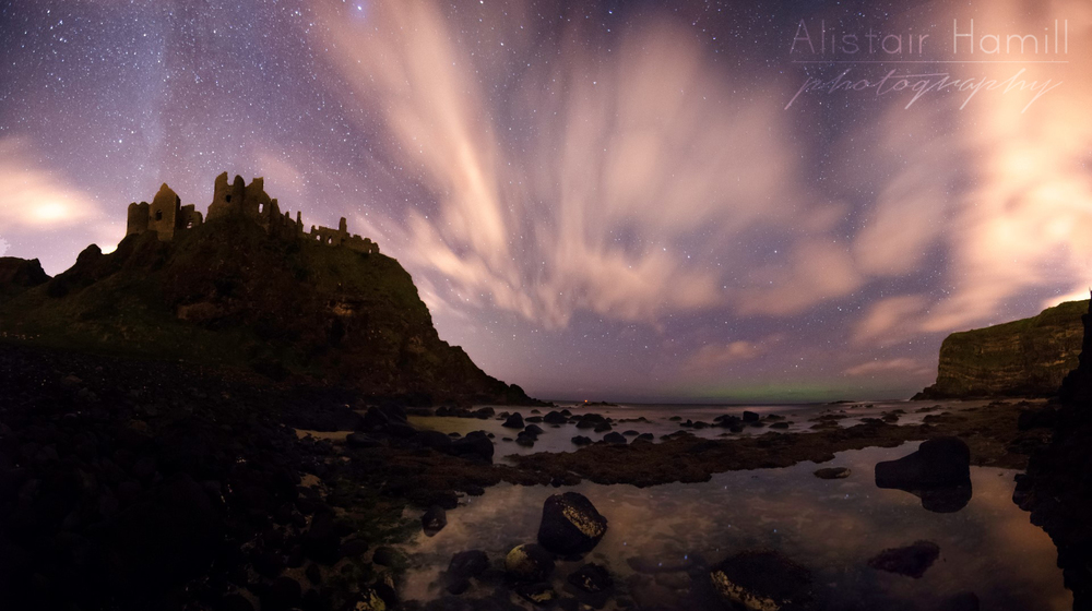 A 6 shot panoramic - with the aurora building in the background.