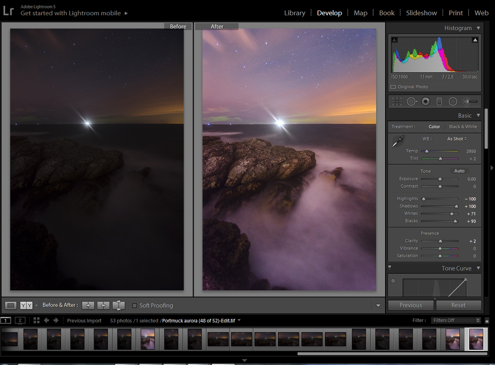 On the left is the image as it first appeared in Lightroom on import, and the right shows the image following my initial adjustments, As RAW images contain a lot of information - more than can be presented in one image - the image on the left is just one possible version or way of presenting the data collected by the camera.