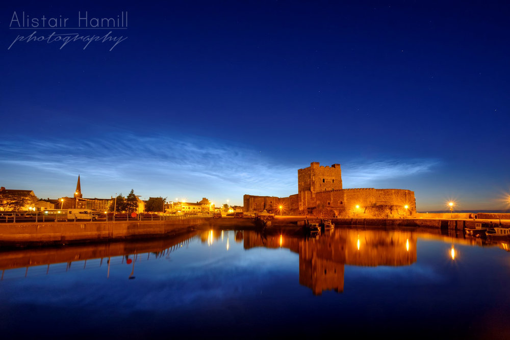 Carrickfergus Castle, a fine 12th century Norman castle located on the shores of Belfast Lough. I was lucky enough to the waters of the harbour to become as still as a mill pond not long after I arrived. Perfect conditions for shooting some NLCs - and their reflections!