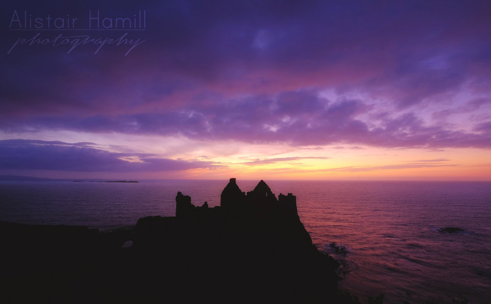 I thought this image would work better if I put the silhouette of the ruins of Dunluce Castle front and centre. The Castle acts as a magnet - your eye starts here, but then is drawn out to the colours of the sky, before being drawn back in again to the castle. In that way, a dynamic is created in the image, without the need to put Dunluce to the side (I thought the image may have been a bit imbalanced then).