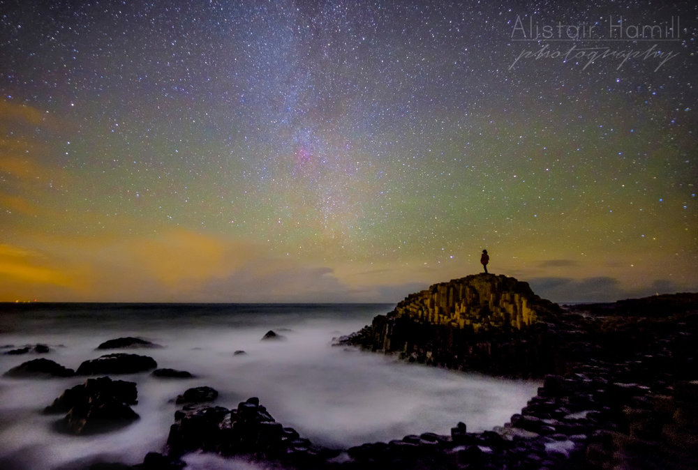 Airglow over the Causeway from January 2017 - and there's the Milky Way to the north, with the pinks of the North America nebula shining through right at its heart.