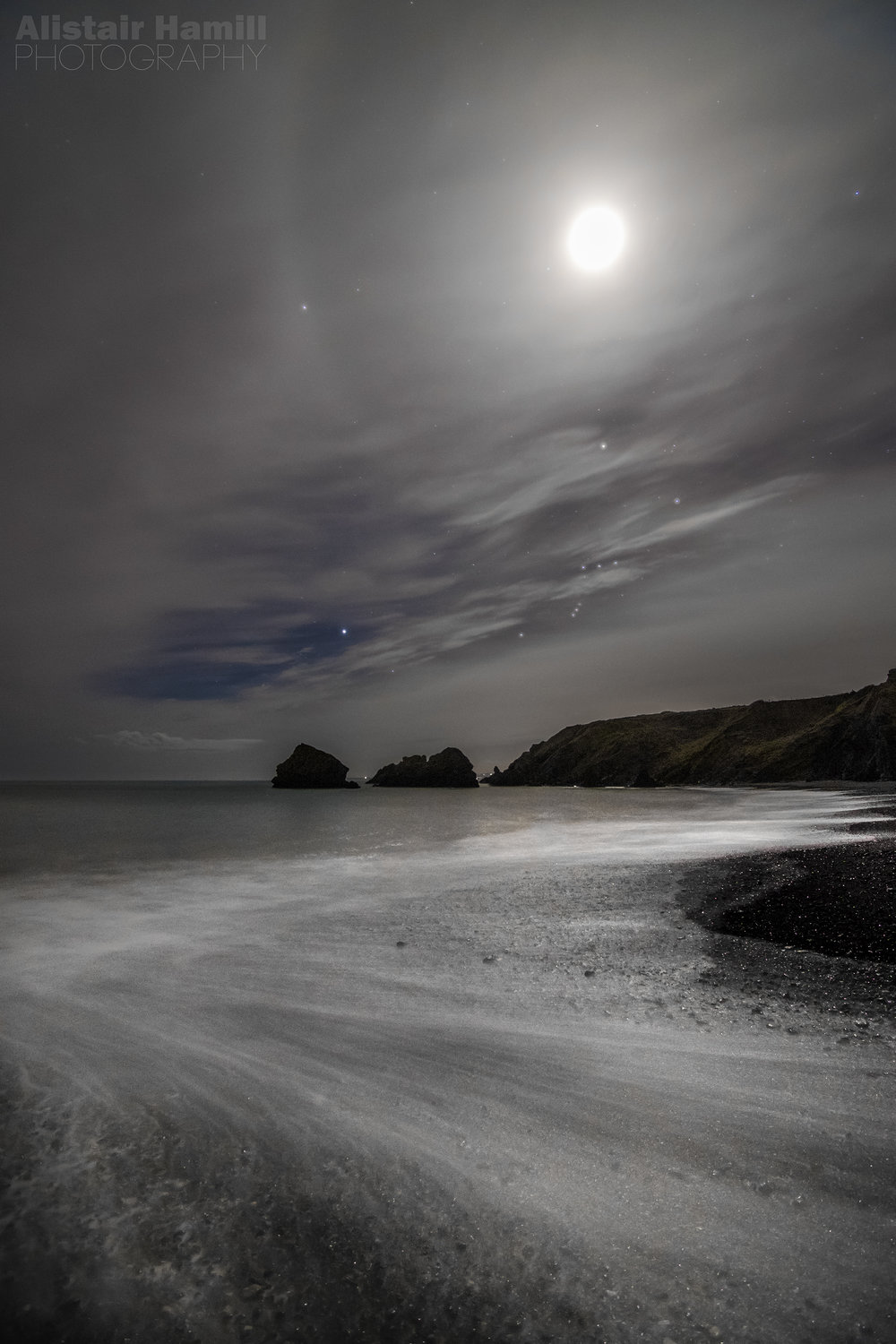 Partial 22 degree halo and a little bit of Orion getting in on the action again at the Copper Coast, Ireland.