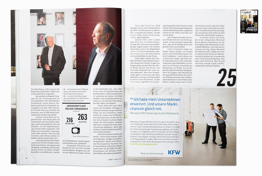 W. Jassner and Klaus Jungnickel,  founders of Bruno Banani, for Capital magazine, Chemnitz 2014