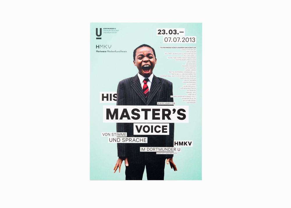 "Manuel from the series ""Sunday Morning"", exhibition flyer for ""His master's voice"", Hartware MedienKunstVerein HMKV Dortmund, 2013"