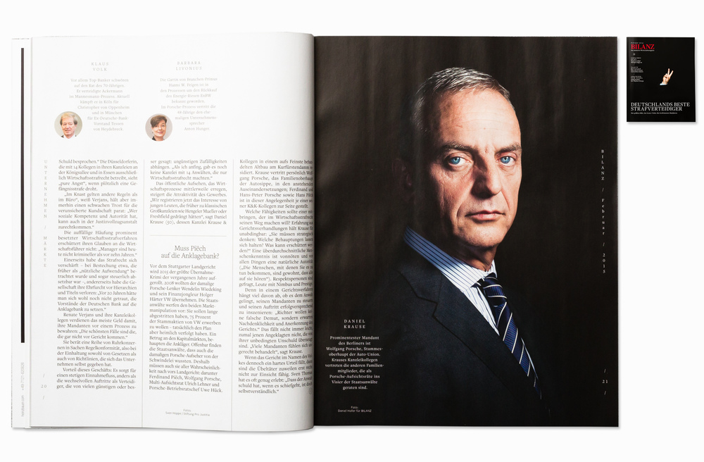 Defense attorney Dr. Daniel Krause for Bilanz Magazine, Berlin 2015