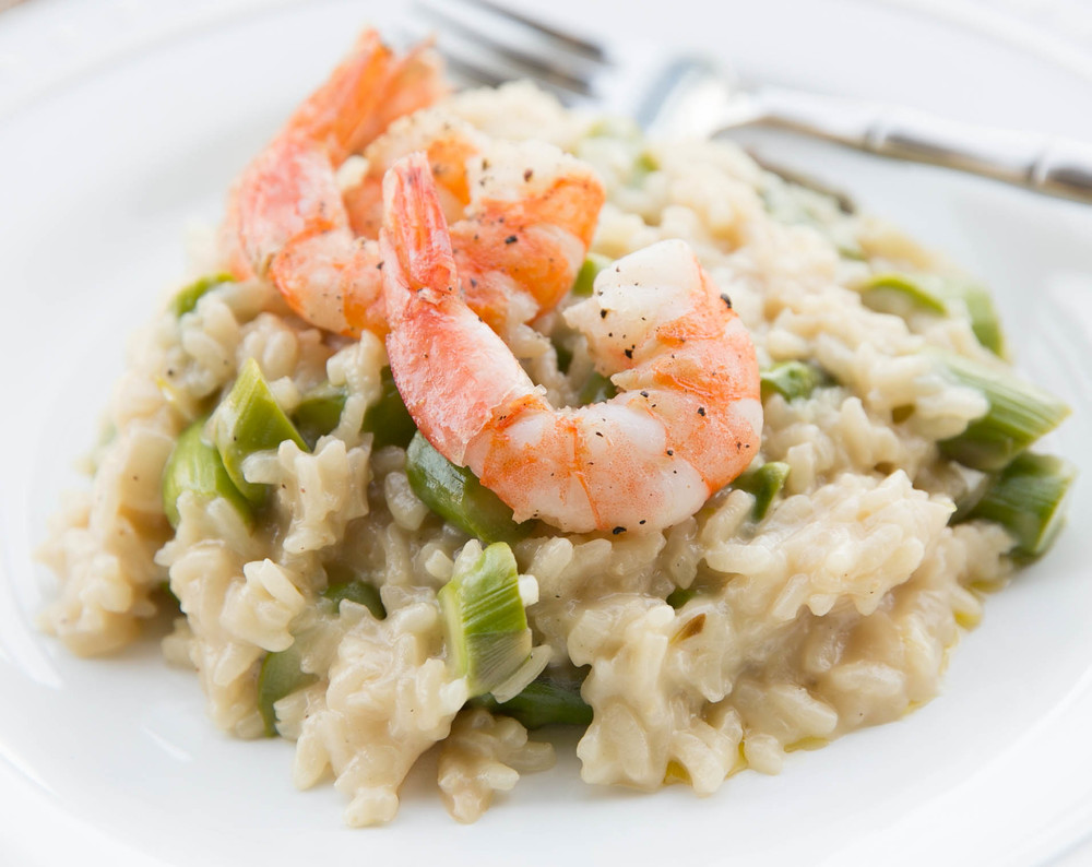 Asparagus Risotto with Pan-Seared Shrimp — Recipes Inspired