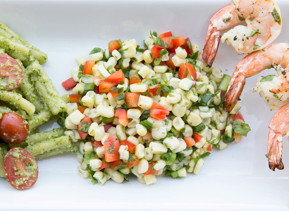 Grilled Shrimp with Spicy Corn Salsa and Avocado Pesto Pasta ...