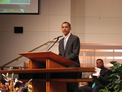 obama speaking at a church
