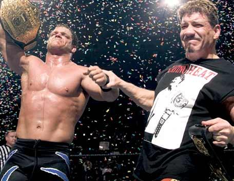Benoit and Guerrero celebrate at WrestleMania XX