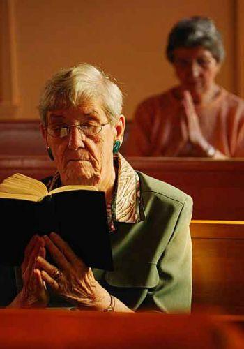 elderly in church