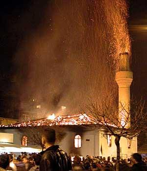 burning mosque in Iraq