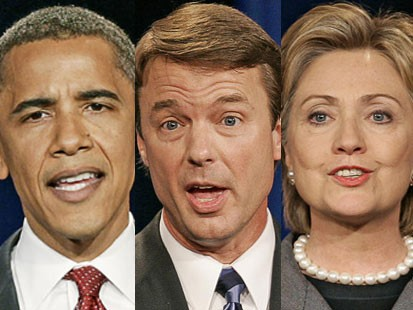 obama, edwards and clinton