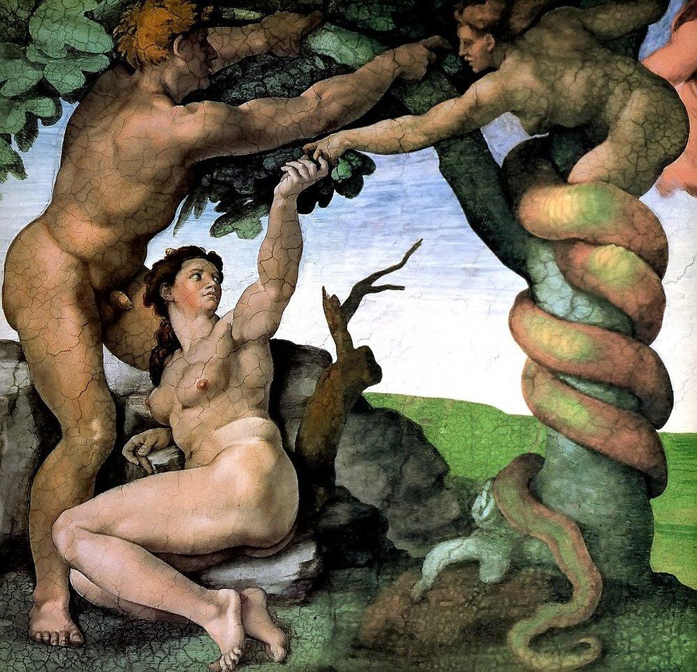 Adam and Eve in Garden, Michelangelo.jpg