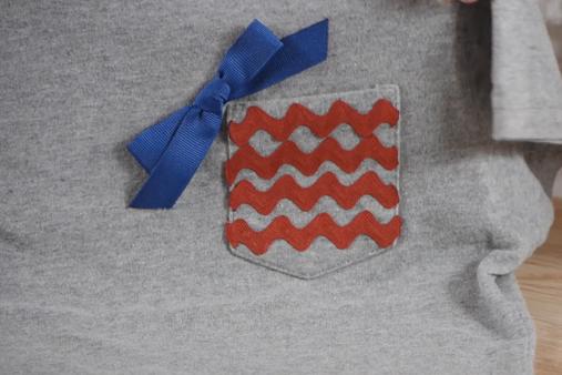 Decorating a T-shirt w/ribbon