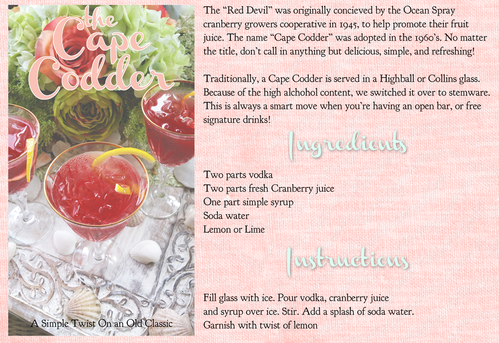 beach theme signature cocktail cape codder