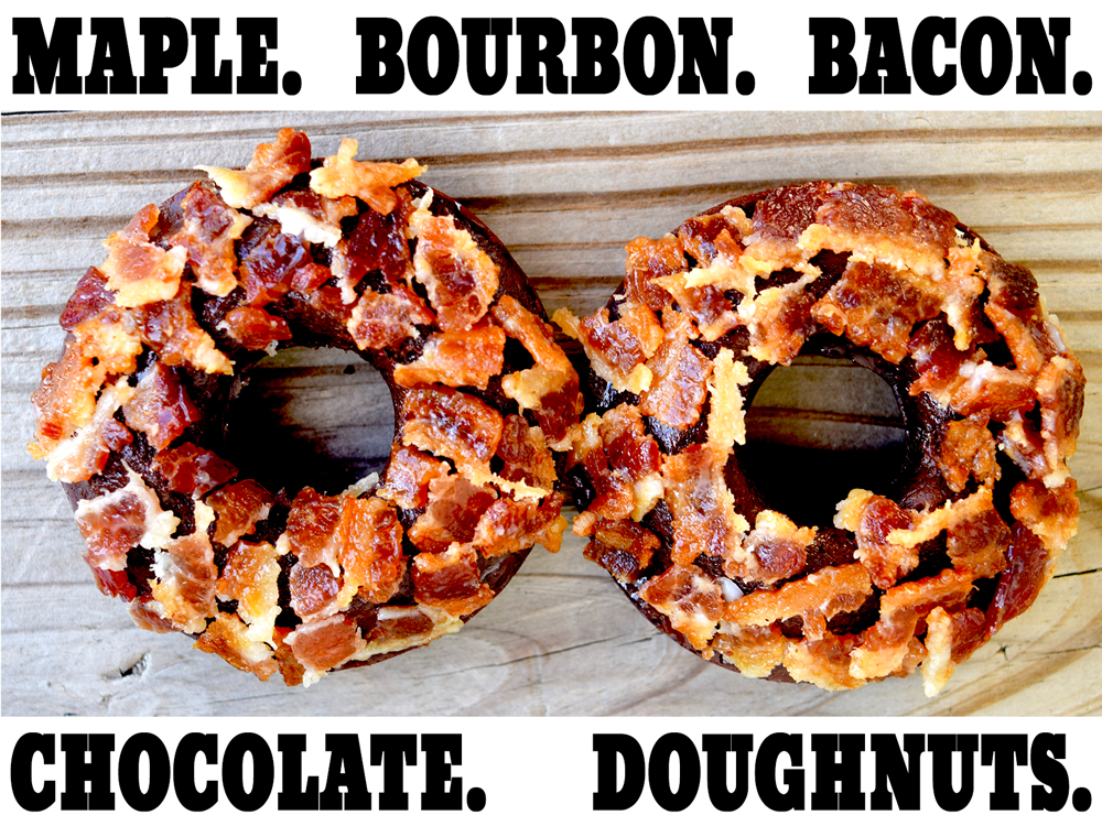 Maple Bourbon Bacon Chocolate Doughnuts