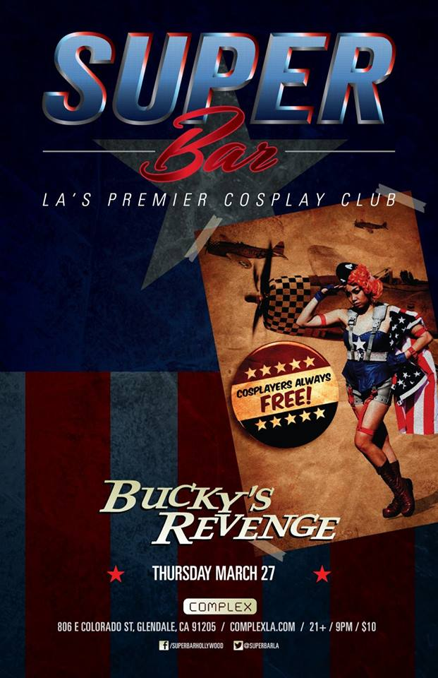 The flyer featuring my image for Bucky's Revenge Cosplay Night at Complex!