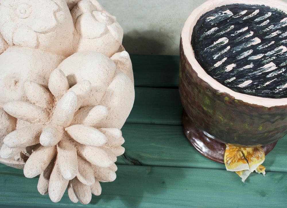 """Fruit Bowl with Two Vessels, detail  7.5"""" x 31.5"""" x 11""""  Ceramic, wood, glaze, gesso, acrylic, silk scarf  2008-2012"""