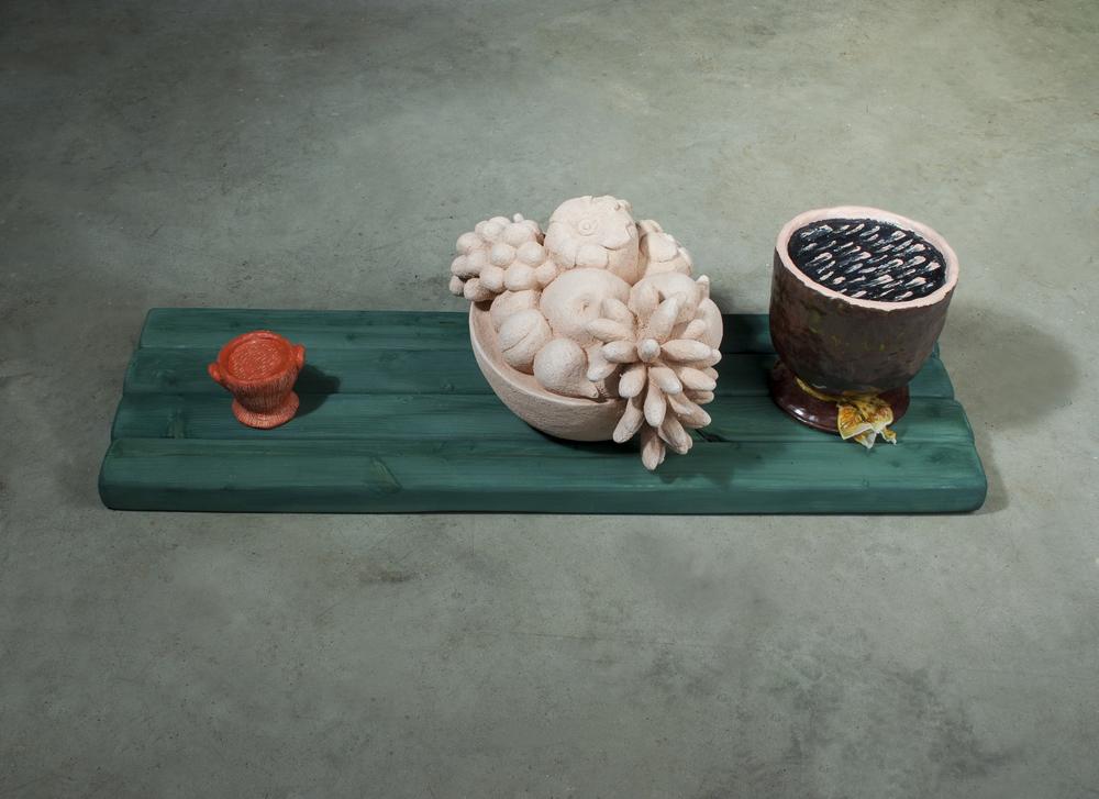 """Fruit Bowl with Two Vessels  7.5"""" x 31.5"""" x 11""""  Ceramic, wood, glaze, gesso, acrylic, silk scarf  2008-2012"""