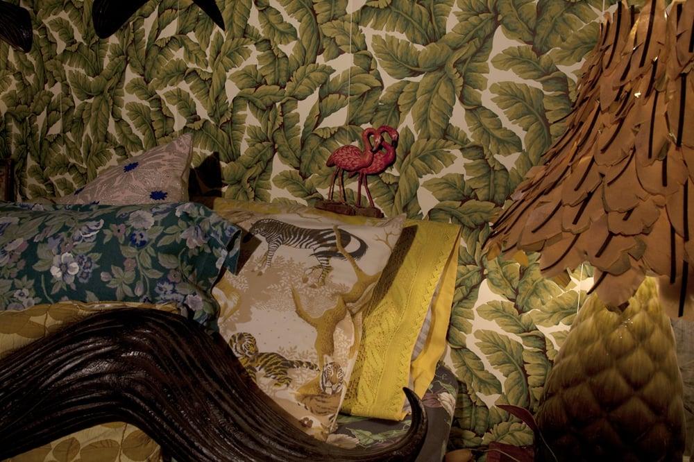 So Exotic  10' x 27'  Hand-cut banana leaves for the lamp shade.  2008-2010  Image credit Lisa Talbot