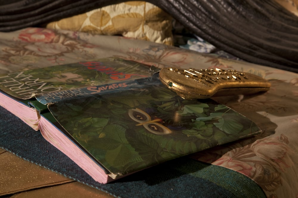 So Exotic  10' x 27'  Remote for the TV gold leafed propped up on book 'The Savages' painted and gold leafed.  2008-2010  Image credit Lisa Talbot