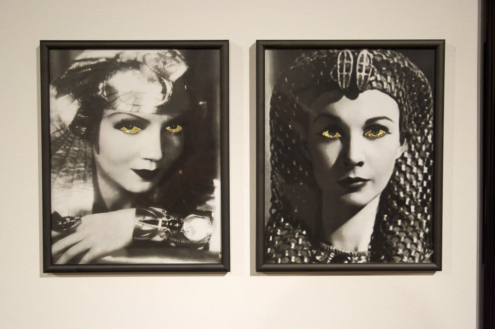 So Exotic in Three Parts  Dimensions Variable  2 glossy sized frames with Claudette Colbert (1934), and Vivien Leigh (1945) with the whites of their eyes gold leafed.  2009