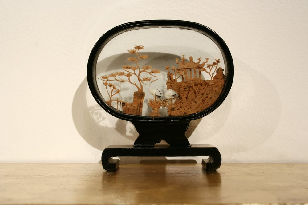So Exotic in Three Parts  Dimensions Variable  Wooden gilded shelf, Chinese vitrines  2009