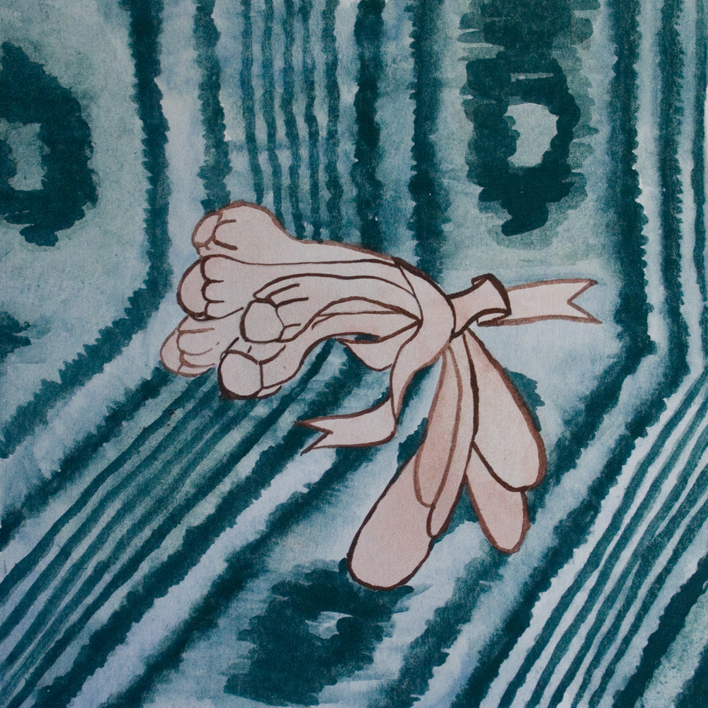 "Outline of Nude Soft Bouquet Against Teal Moire  5"" x 5""  Watercolor, paper  2011"