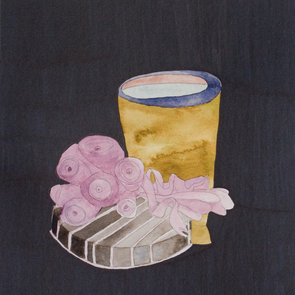 """Lilac Soft Bouquet with Vessel and Pedestal  8"""" x 8""""  Watercolor, sharpie,paper  2011"""