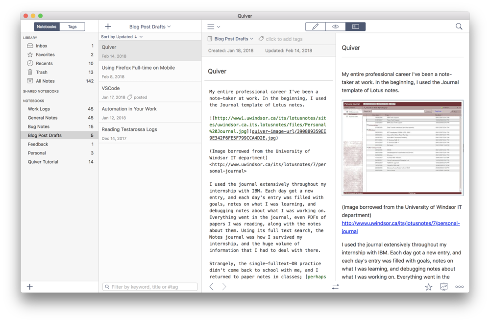 Quiver in action. In this view, the Markdown sources are being rendered previewed in the split pane view.
