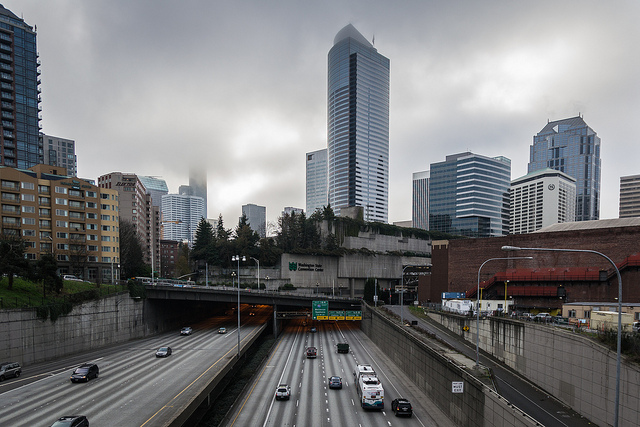 A typical picture of downtown Seattle over I5 facing south.