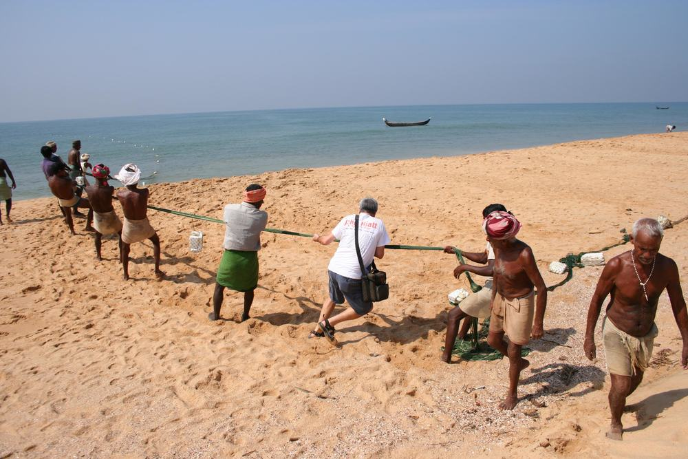 Pulling in Fishing Net, Kerala, India