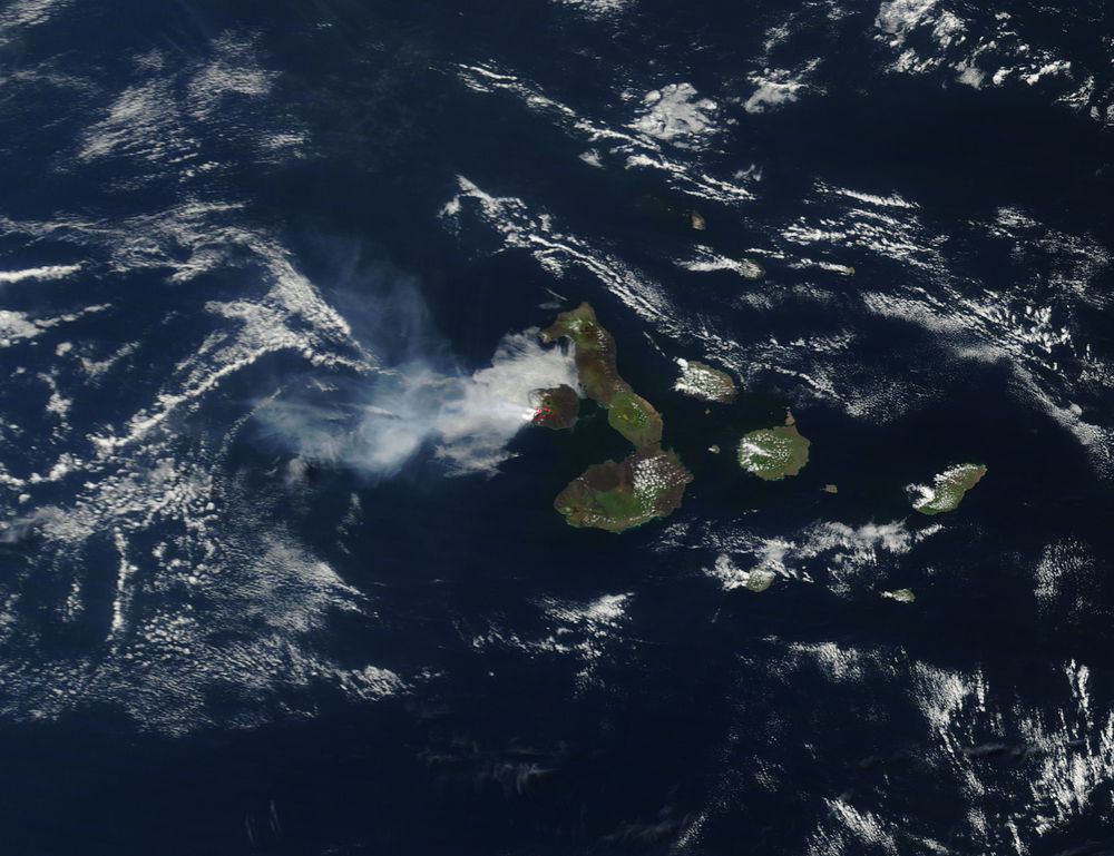 The red circle is the erupting site. The cloud that encircles the area is a volcanic plume.